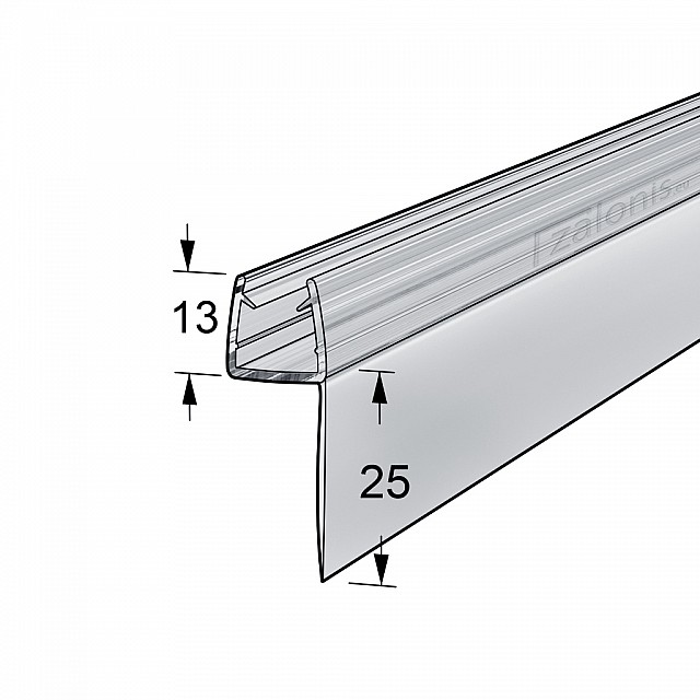 h SHAPED SHOWER SEAL FOR 8-10mm GLASS / LONG FIN